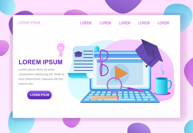 Online education courses service web page template Premium Vector