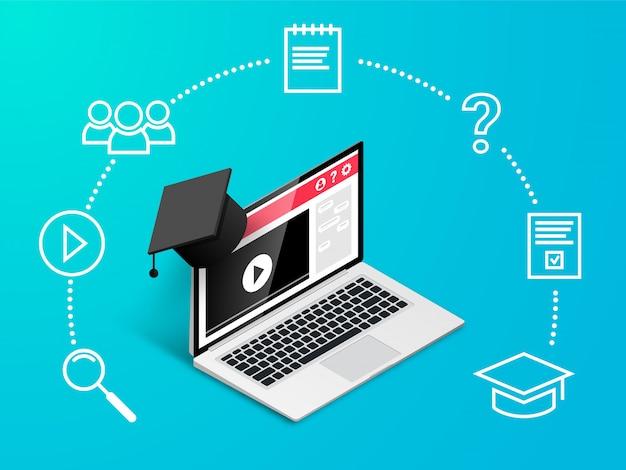Концепция дизайна онлайн-образования. онлайн-обучение, вебинар, дистанционное обучение, бизнес-тренинг баннер. изометрический ноутбук с выпускной крышкой с иконками на синем градиентном фоне Premium векторы