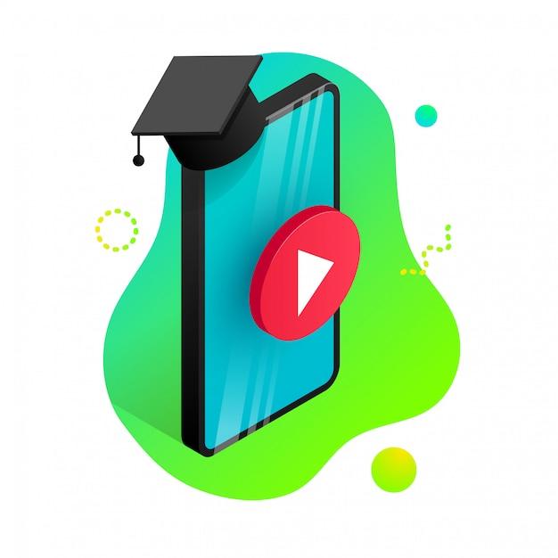 Концепция дизайна онлайн-образования. онлайн-обучение, вебинар, дистанционное обучение, обучающий баннер. изометрические телефон с выпускной крышкой, кнопка воспроизведения на фоне формы градиента жидкости. иллюстрация Premium векторы