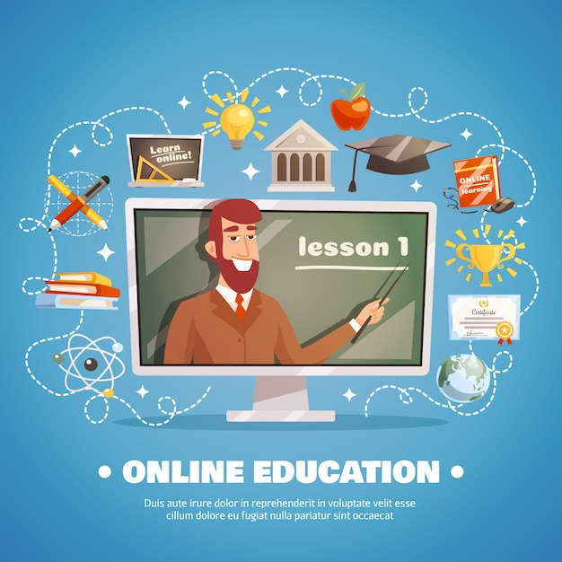 Online education design concept Free Vector