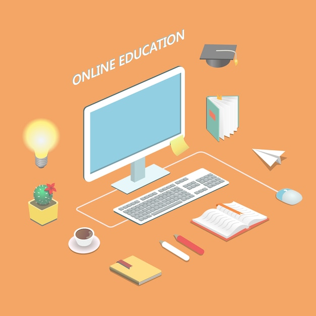 Online education e-learning science isometric concept with book and computer  vector illustration Premium Vector