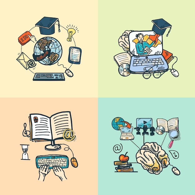 Online education e-learning science sketch icons set isolated vector illustration Free Vector