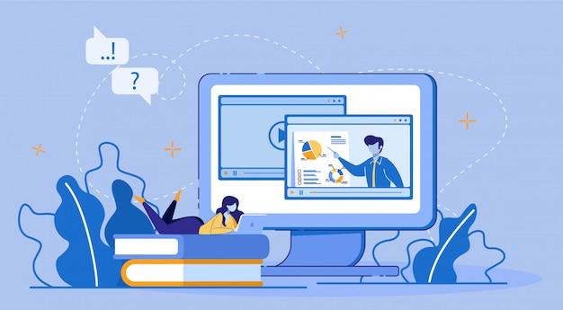 Интернет-обучение, электронное обучение через цифровое устройство. Premium векторы