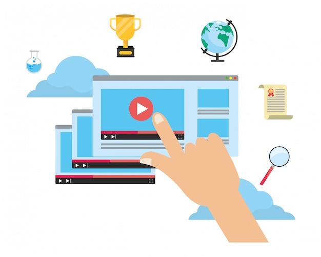 Online education elements cartoon Premium Vector