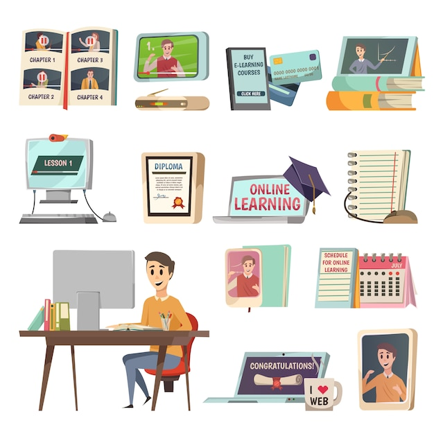 Online education elements Free Vector