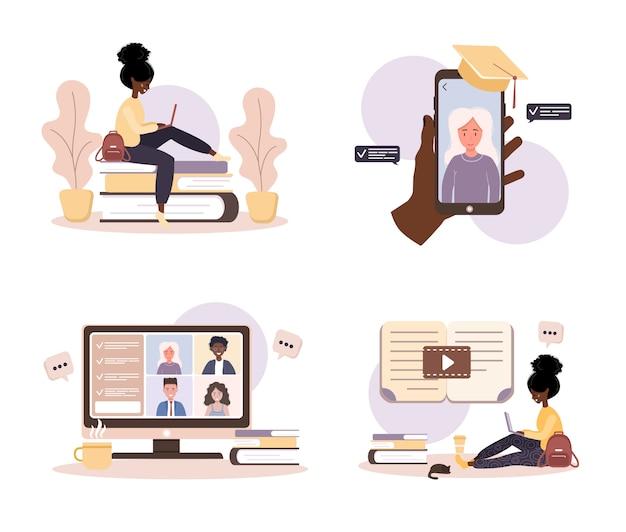 オンライン教育。トレーニングとビデオチュートリアルのフラットなデザインコンセプト。アフリカの学生が自宅で学習します。ウェブサイト、マーケティング資料、プレゼンテーションテンプレート、オンライン広告のイラスト。 Premiumベクター