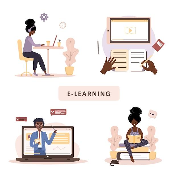 オンライン教育。トレーニングとビデオチュートリアルのフラットなデザインコンセプト。アフリカの学生が自宅で学習します。ウェブサイト、マーケティング資料、プレゼンテーションテンプレート、オンライン広告のベクトルイラスト。 Premiumベクター