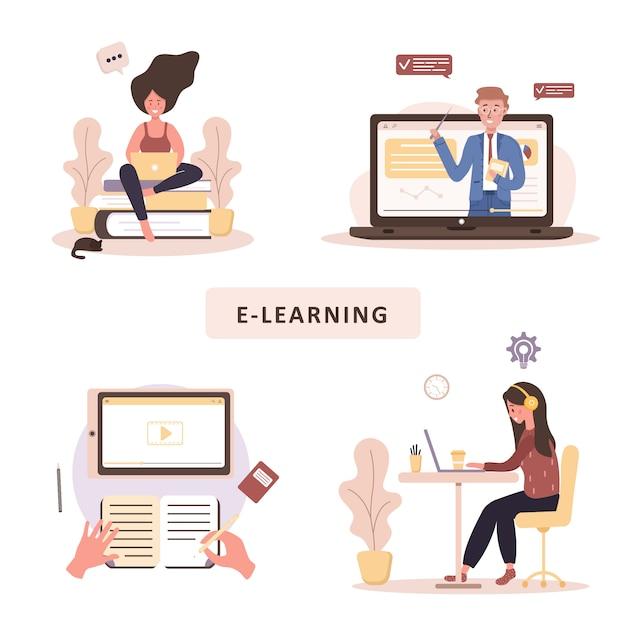 オンライン教育。トレーニングとビデオチュートリアルのフラットなデザインコンセプト。自宅で学習する学生。ウェブサイトのバナー、マーケティング資料、プレゼンテーションテンプレート、オンライン広告のイラスト。 Premiumベクター