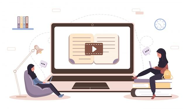 Интернет образование. плоская концепция проекта обучения и видеоуроки. студент учится дома. иллюстрация для веб-сайта баннер, маркетинговые материалы, шаблон презентации, интернет-реклама. Premium векторы