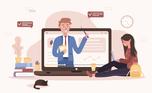 Online education. flat design concept of training and video tutorials. student learning at home. illustration for website banner, marketing material, presentation template, online advertising. Premium Vector