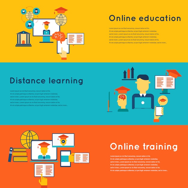 Online education flat horizontal banners set with distance learning and training elements isolated vector illustration Free Vector