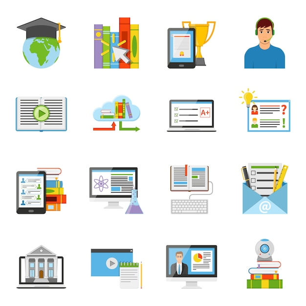 Online education flat icons set Free Vector