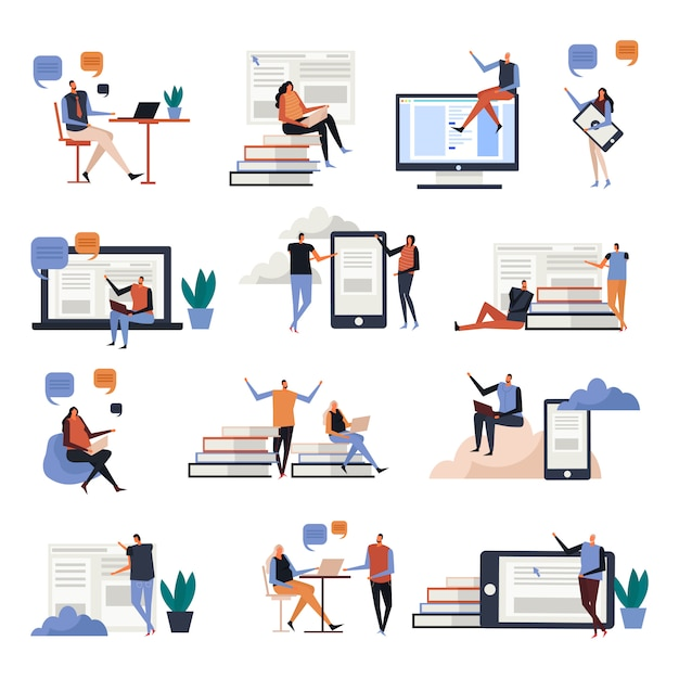 Online education flat icons Free Vector