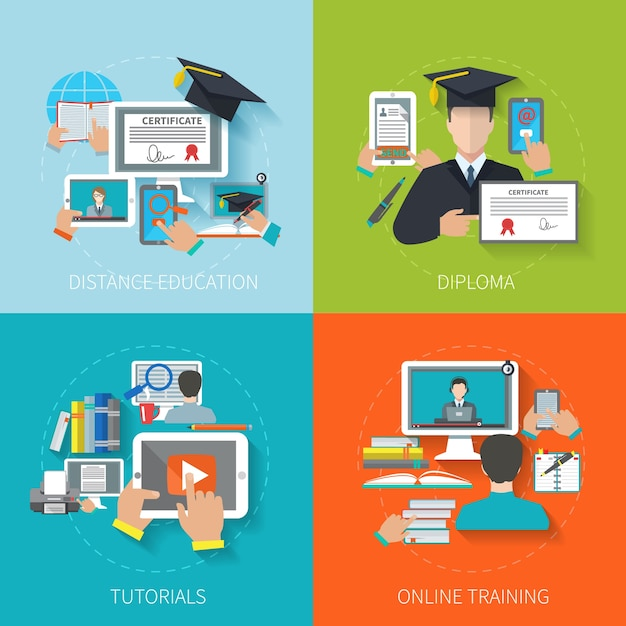 Online education flat Free Vector
