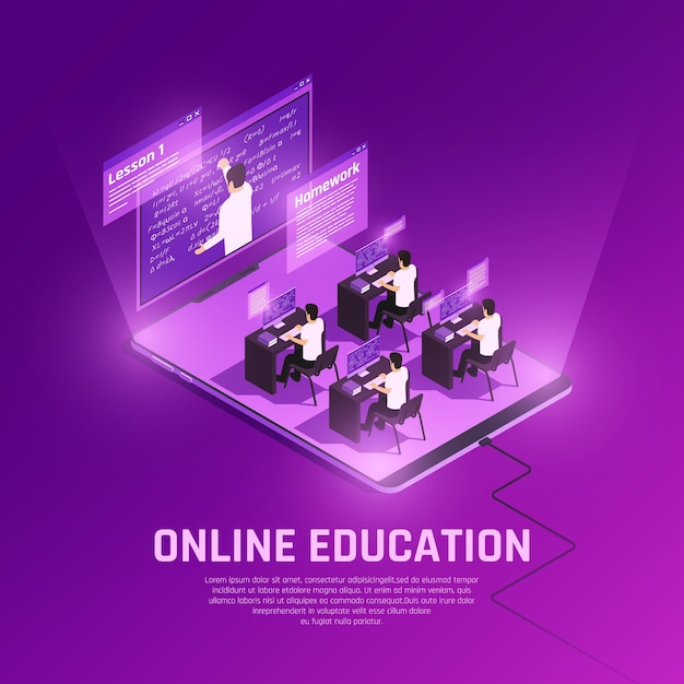 Online education glow isometric composition with view of hi tech anvironment with people computers and teacher Free Vector