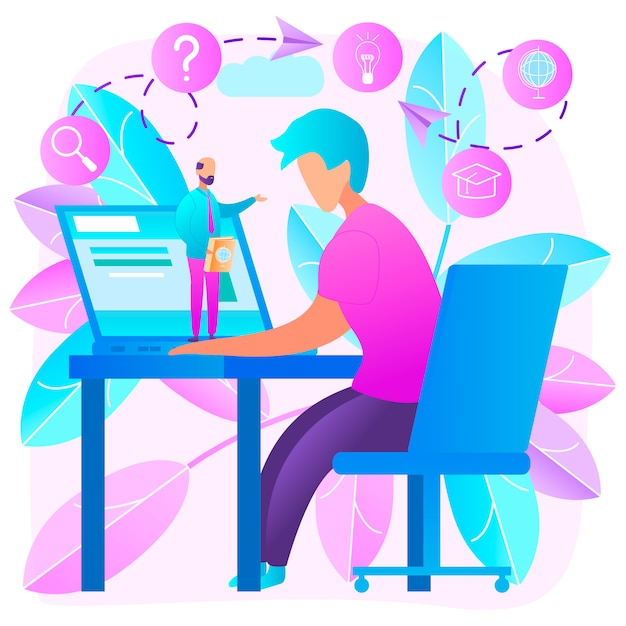 Online education at home flat vector concept Premium Vector