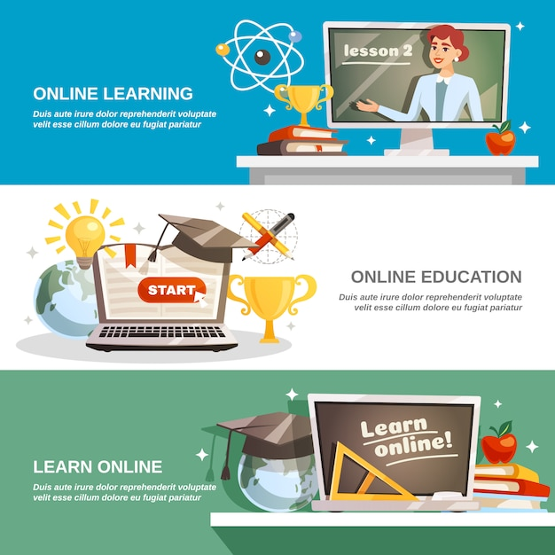 Online education horizontal banners Free Vector