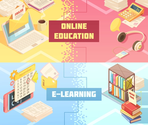 Online education horizontal isometric banners Free Vector
