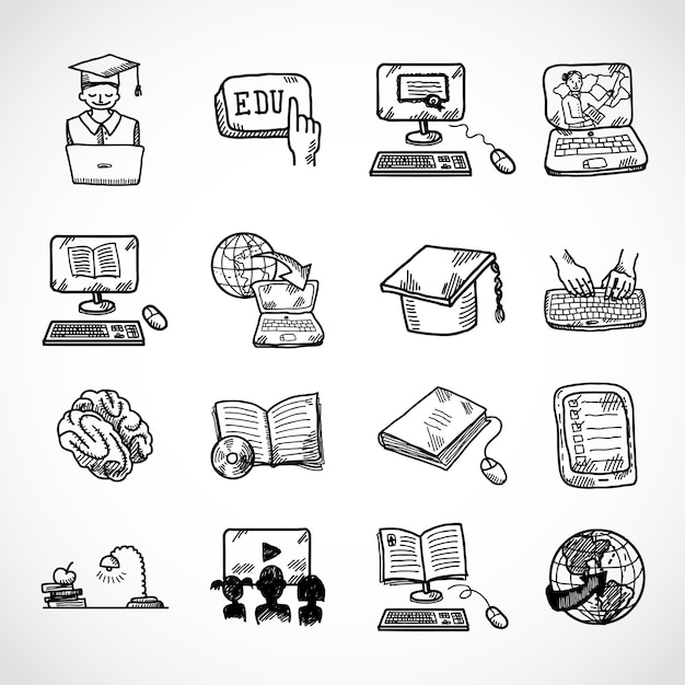 Online education icon sketch, doodle hand drawn style Free Vector