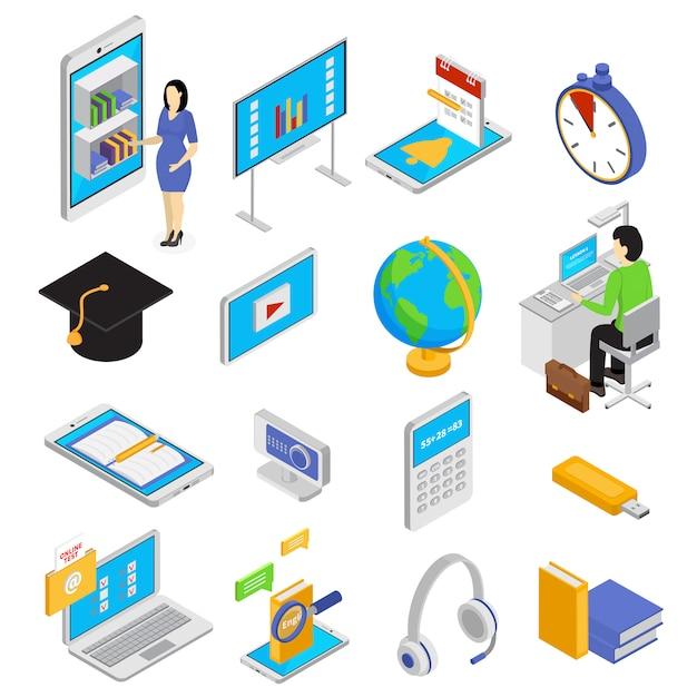 Le icone online di istruzione hanno messo con l'illustrazione isolata isometrica di simboli di conoscenza Vettore gratuito