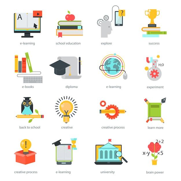Online education icons vector set distance school Premium Vector