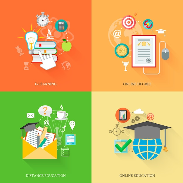 Online Education Icons Free Vector
