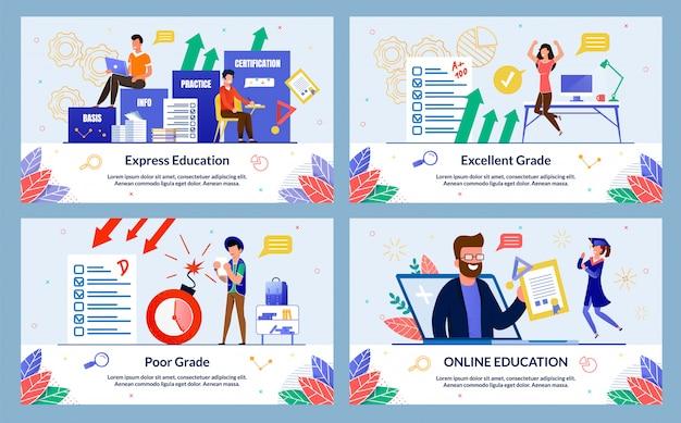Online education illustration set in flat style Premium Vector