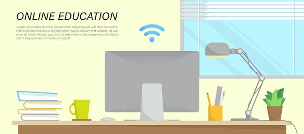 Интернет образование инфографики с рабочей областью в доме и место для текста Premium векторы