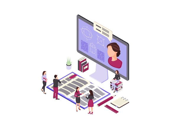 Online education isometric color illustration Premium Vector