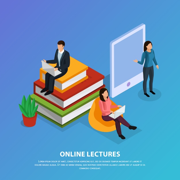 Online education isometric composition with teacher and students during web lecture on blue Free Vector