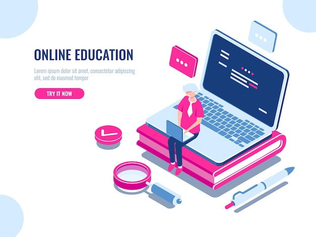 Online education isometric concept, laptop on book, internet course for learning on home Free Vector
