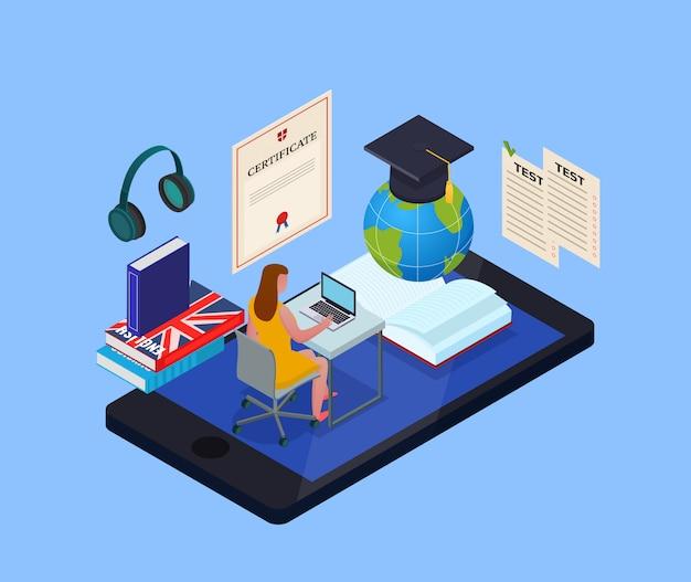 3 dを勉強するための電子ライブラリとさまざまなオブジェクトを使用して女子学生とオンライン教育等尺性概念 無料ベクター