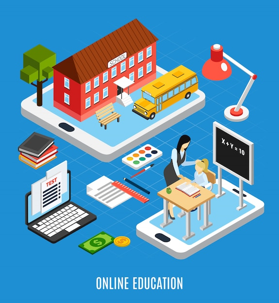 Online education isometric concept with pupils using electronic devices for studying at home 3d vector illustration Free Vector