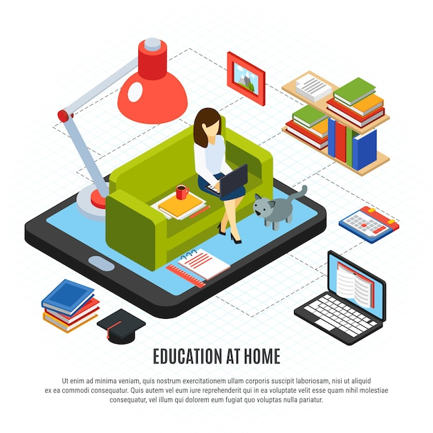 Online education isometric concept with woman studying at home 3d vector illustration Free Vector