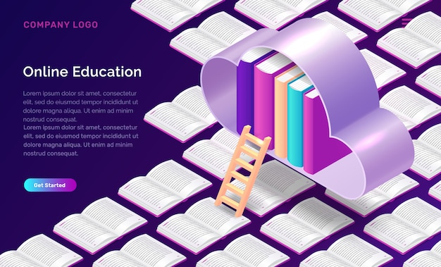 Online education isometric concept Free Vector