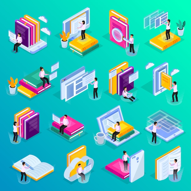 Online education isometric glow icons set with cloud library video courses lectures personal tutor symbols Free Vector