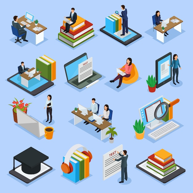 Online education isometric icons Free Vector