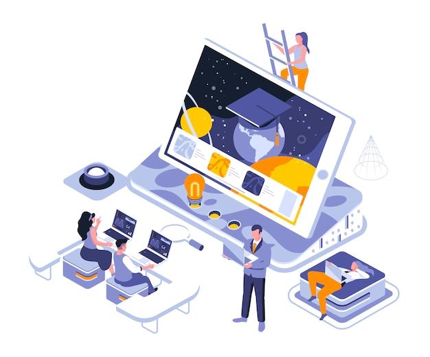 Online education isometric    illustration template Premium Vector