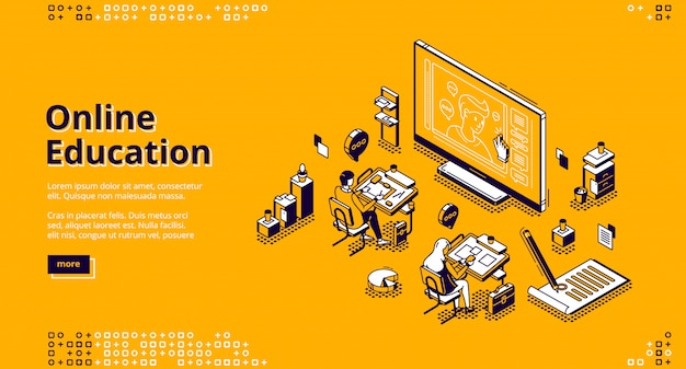 Online education isometric landing page web banner Free Vector
