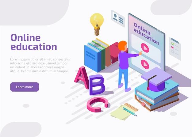 オンライン教育のアイソメトリックランディングページ、webバナー。 無料ベクター