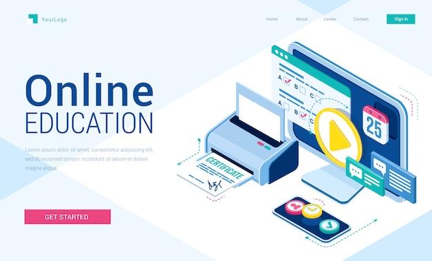 Pagina di destinazione isometrica dell'istruzione online con le attrezzature degli studenti per studiare via internet Vettore gratuito