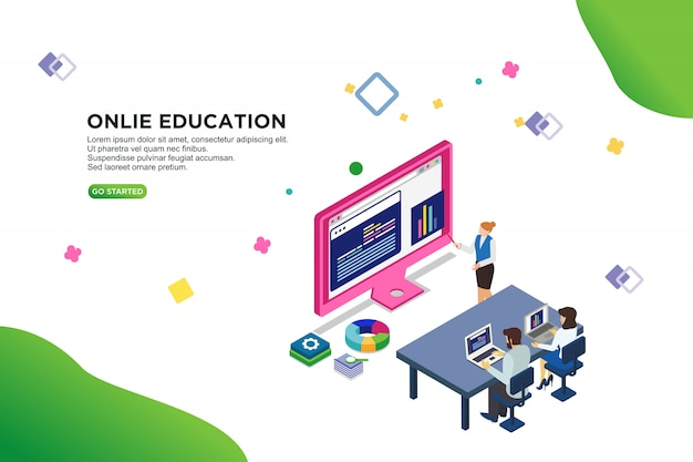 Online education isometric vector illustration concept Premium Vector
