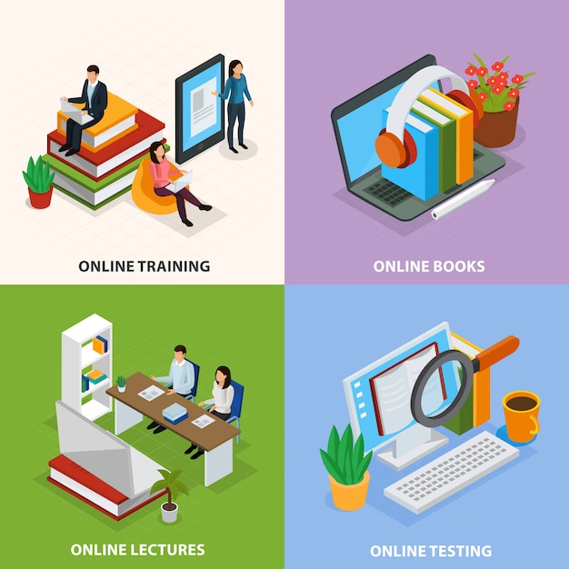Online education isometric Free Vector