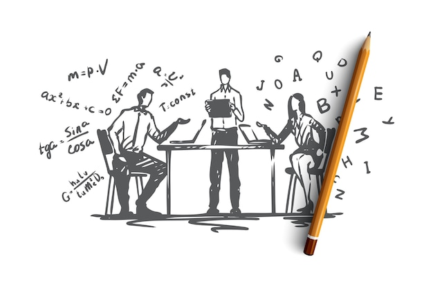 Интернет, образование, знания, компьютер, интернет-концепция. рисованной люди, практикующие онлайн-образование с эскизом концепции ноутбука. иллюстрация. Premium векторы
