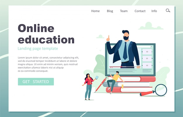 Online education landing page. male teacher giving online lessons. illustration in cartoon flat style. Premium Vector
