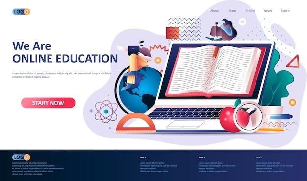 オンライン教育のランディングページのテンプレートの図 Premiumベクター