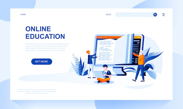 Online education landing page template with header Premium Vector