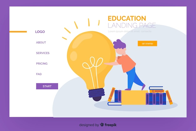 Online education landing page template Free Vector