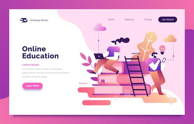 Online education landing page for web Premium Vector