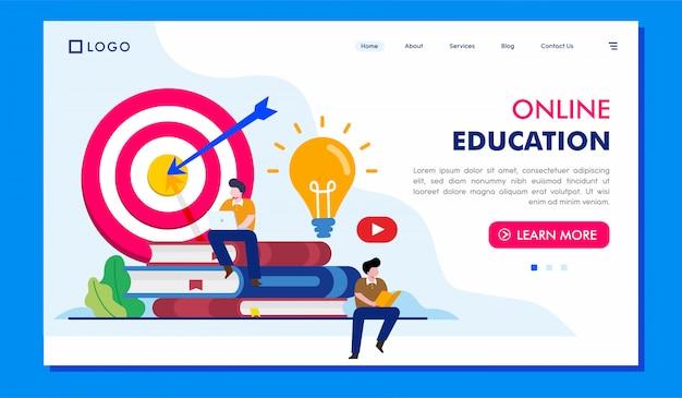 Дизайн вектора иллюстрации вебсайта целевой страницы образования онлайн Premium векторы